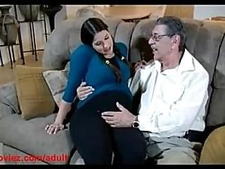 Preggo granddaughter fucked by old man