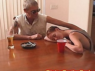 Older guy fucking teens tight little pussy and gives her a creampie