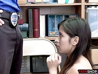 Colombian teen thief busted stealing by a dirty security guard who has her in his back office of the store where he blackmails her