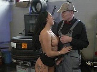 Grandpa fucks a real young dirty german bitch