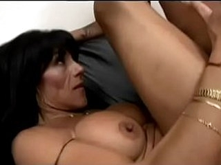 Young stud fucks in  throat and wet cunt experienced busty sunburnt  brunette on the couch