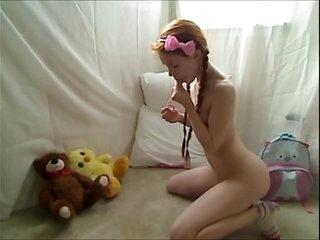 Hot Teen Redhead Dolly Little Masturbating in Footie Pajamas 14 min