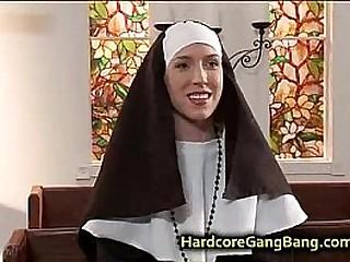 Nun double penetration fucked in Church