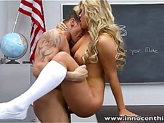 InnocentHigh Blonde schoolgirl teen Cameron Dee fucks teacher